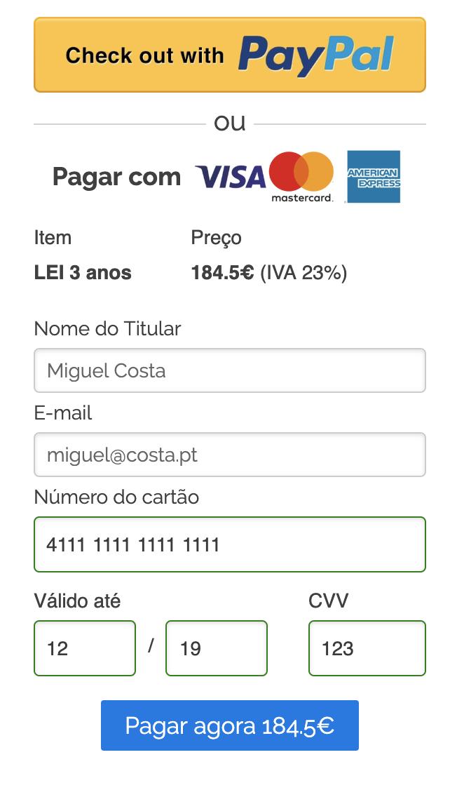 Você pode pagar usando um cartão de crédito ou PayPal e seu aplicativo LEI será processado assim que o pagamento for enviado